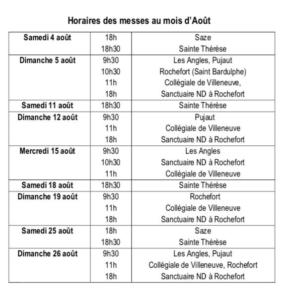 Messes Aout 2018