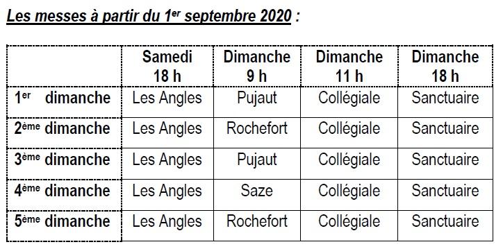 Messes à partir du 01 Septembre 2020